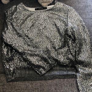 Zara silver sequin long sleeve top